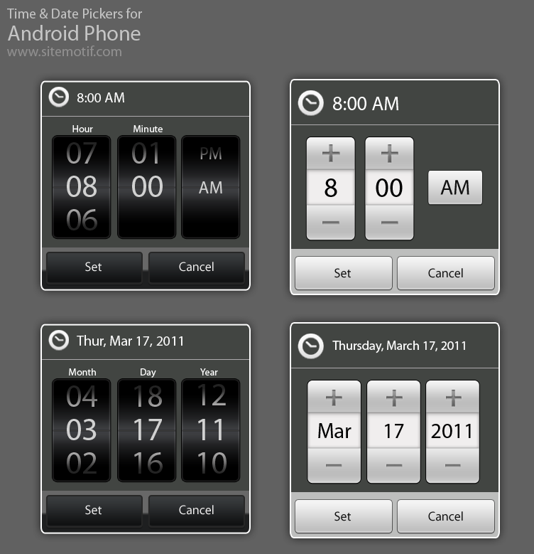 Android Date And Time Controls