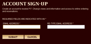 PF Changs Email Signup